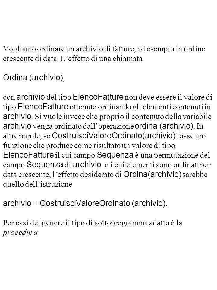 Vogliamo ordinare un archivio di fatture, ad esempio in ordine crescente di data.