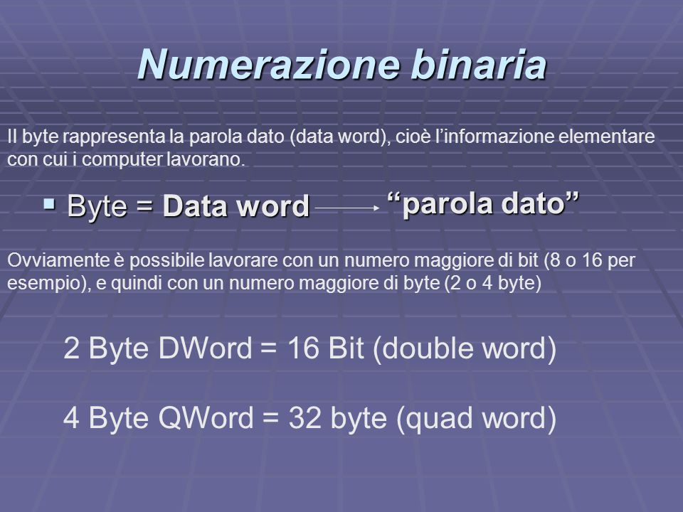 Numerazione binaria parola dato Byte = Data word