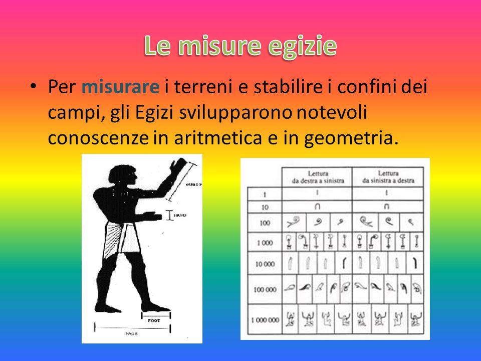 Le misure egizie Per misurare i terreni e stabilire i confini dei campi, gli Egizi svilupparono notevoli conoscenze in aritmetica e in geometria.