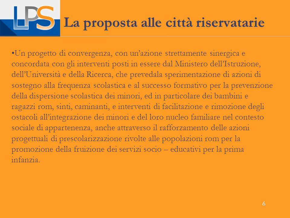 La proposta alle città riservatarie