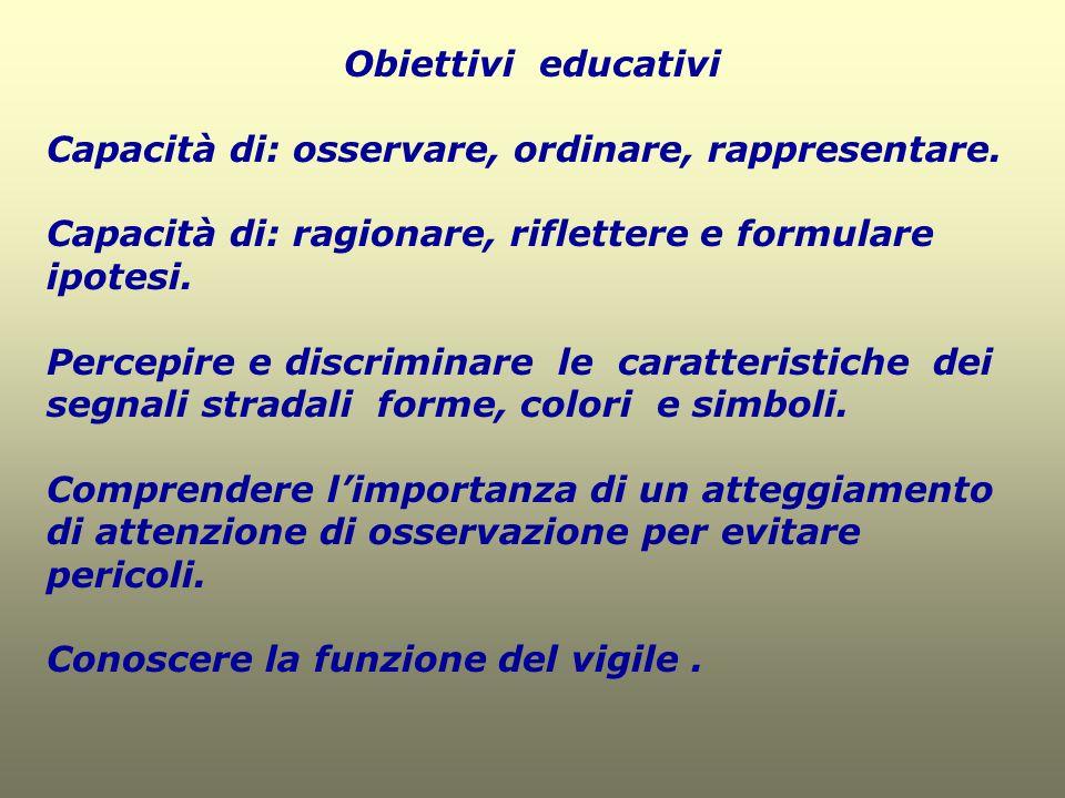 Obiettivi educativi Capacità di: osservare, ordinare, rappresentare. Capacità di: ragionare, riflettere e formulare ipotesi.