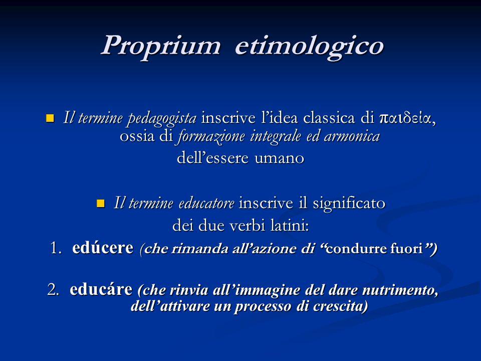 Proprium etimologico Il termine pedagogista inscrive l'idea classica di παιδεία, ossia di formazione integrale ed armonica.