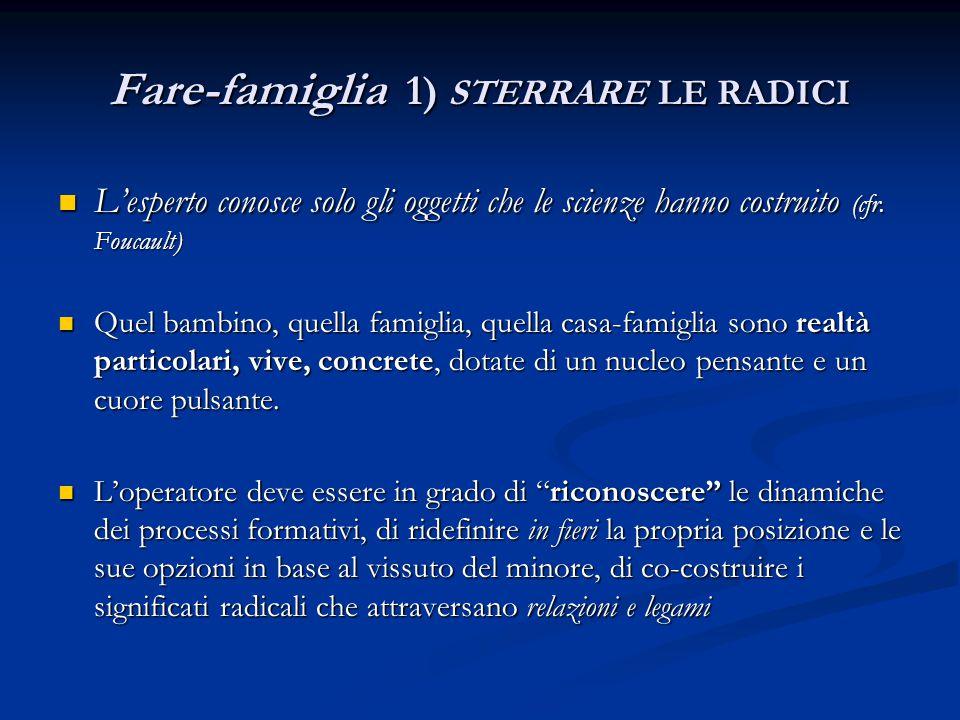 Fare-famiglia 1) STERRARE LE RADICI