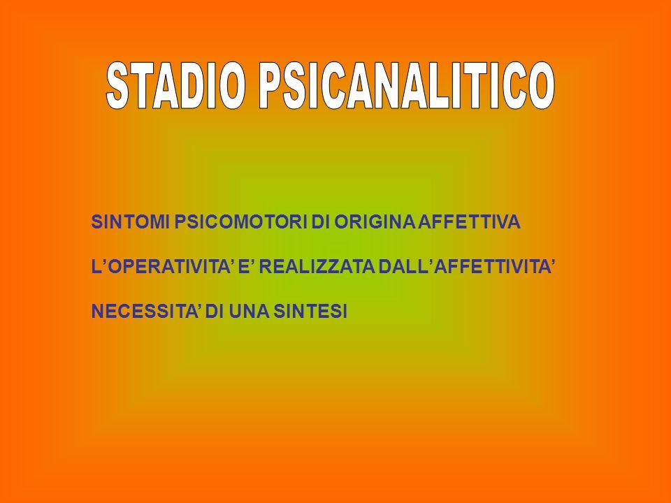 STADIO PSICANALITICO SINTOMI PSICOMOTORI DI ORIGINA AFFETTIVA