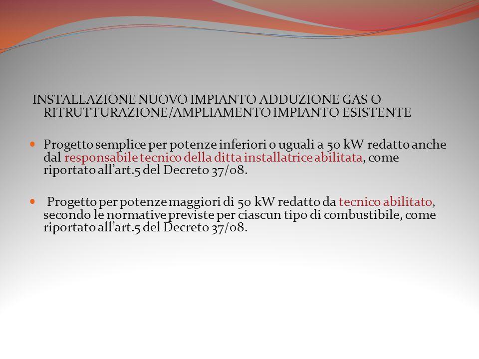 INSTALLAZIONE NUOVO IMPIANTO ADDUZIONE GAS O RITRUTTURAZIONE/AMPLIAMENTO IMPIANTO ESISTENTE