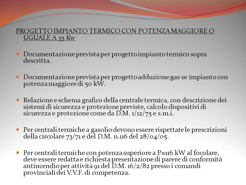 PROGETTO IMPIANTO TERMICO CON POTENZA MAGGIORE O UGUALE A 35 Kw