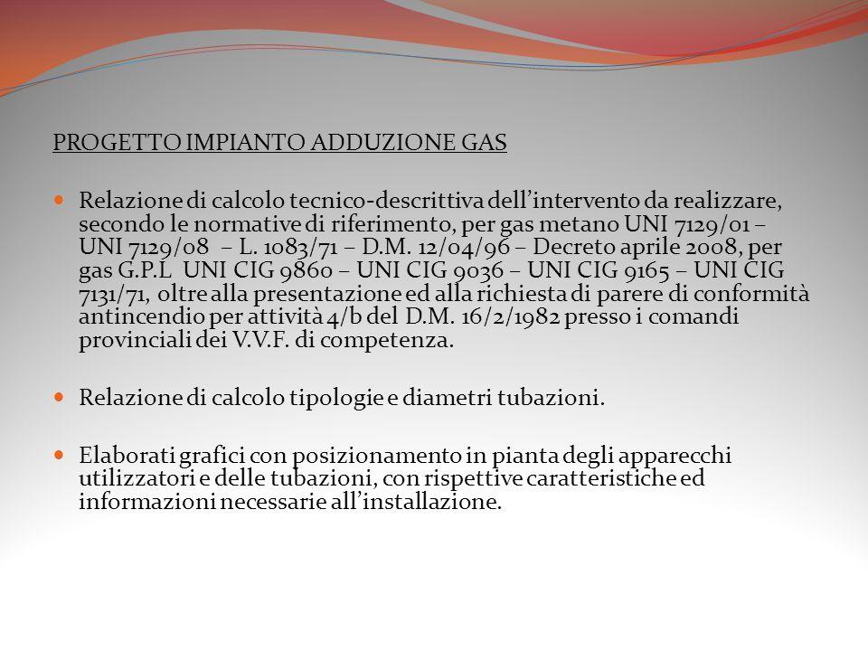 PROGETTO IMPIANTO ADDUZIONE GAS