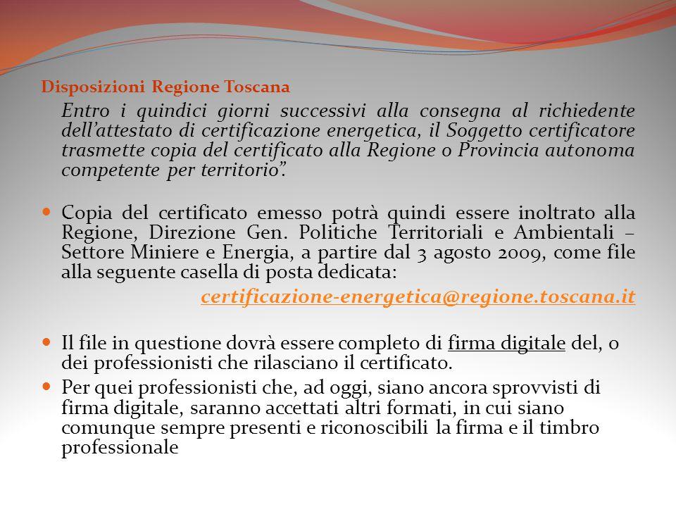 Disposizioni Regione Toscana