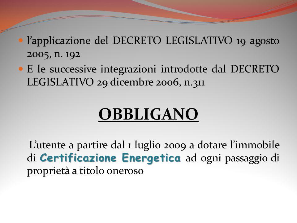 l'applicazione del DECRETO LEGISLATIVO 19 agosto 2005, n. 192