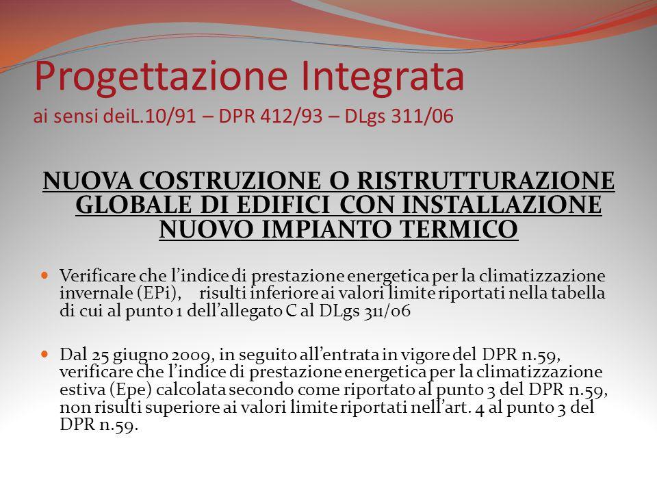 Progettazione Integrata ai sensi deiL.10/91 – DPR 412/93 – DLgs 311/06