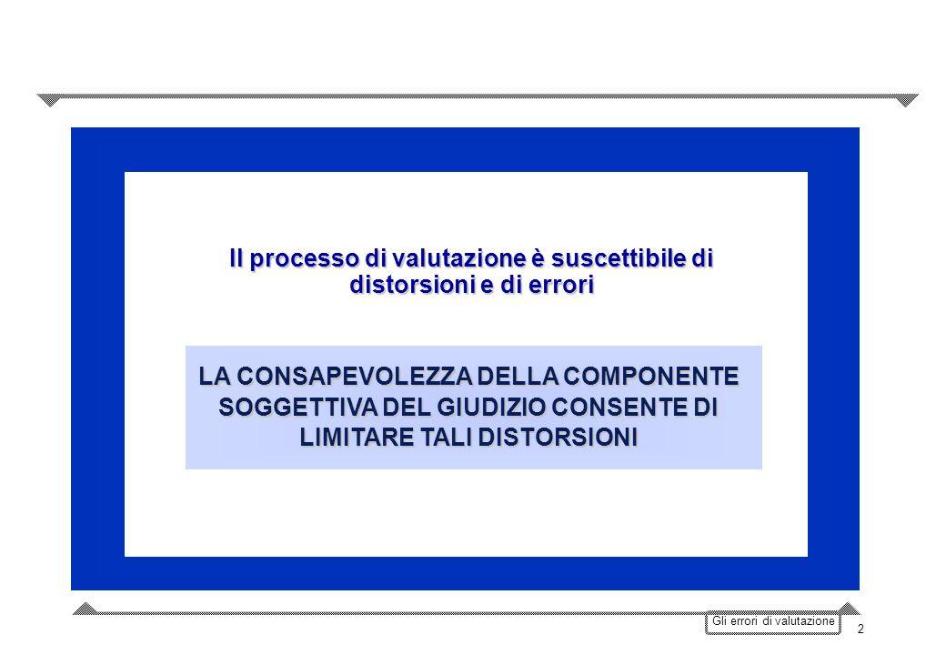 Il processo di valutazione è suscettibile di distorsioni e di errori