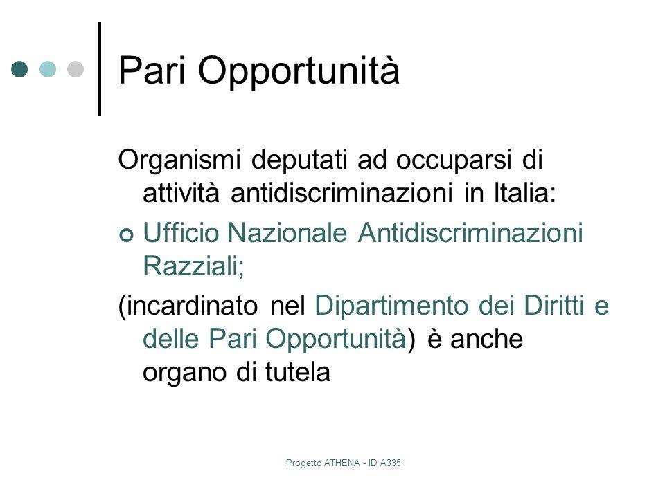 Pari Opportunità Organismi deputati ad occuparsi di attività antidiscriminazioni in Italia: Ufficio Nazionale Antidiscriminazioni Razziali;
