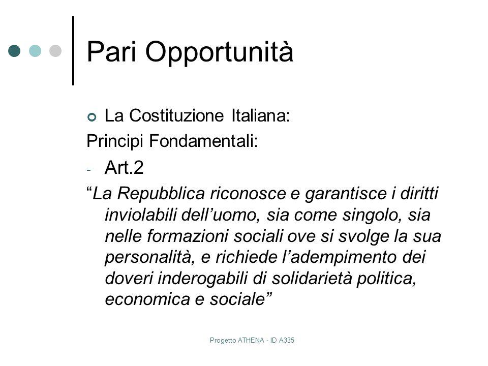 Pari Opportunità Art.2 La Costituzione Italiana: