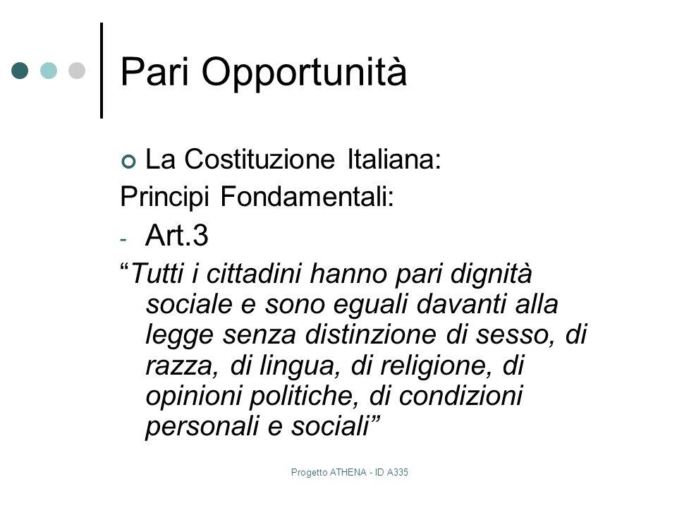 Pari Opportunità Art.3 La Costituzione Italiana: