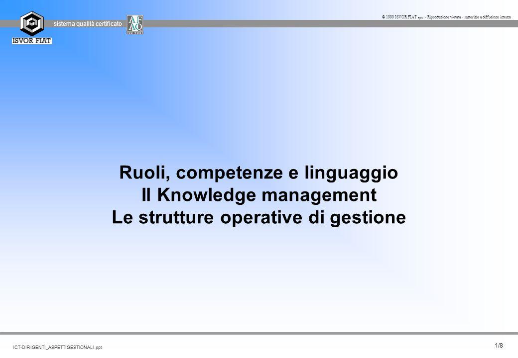Ruoli, competenze e linguaggio Il Knowledge management Le strutture operative di gestione