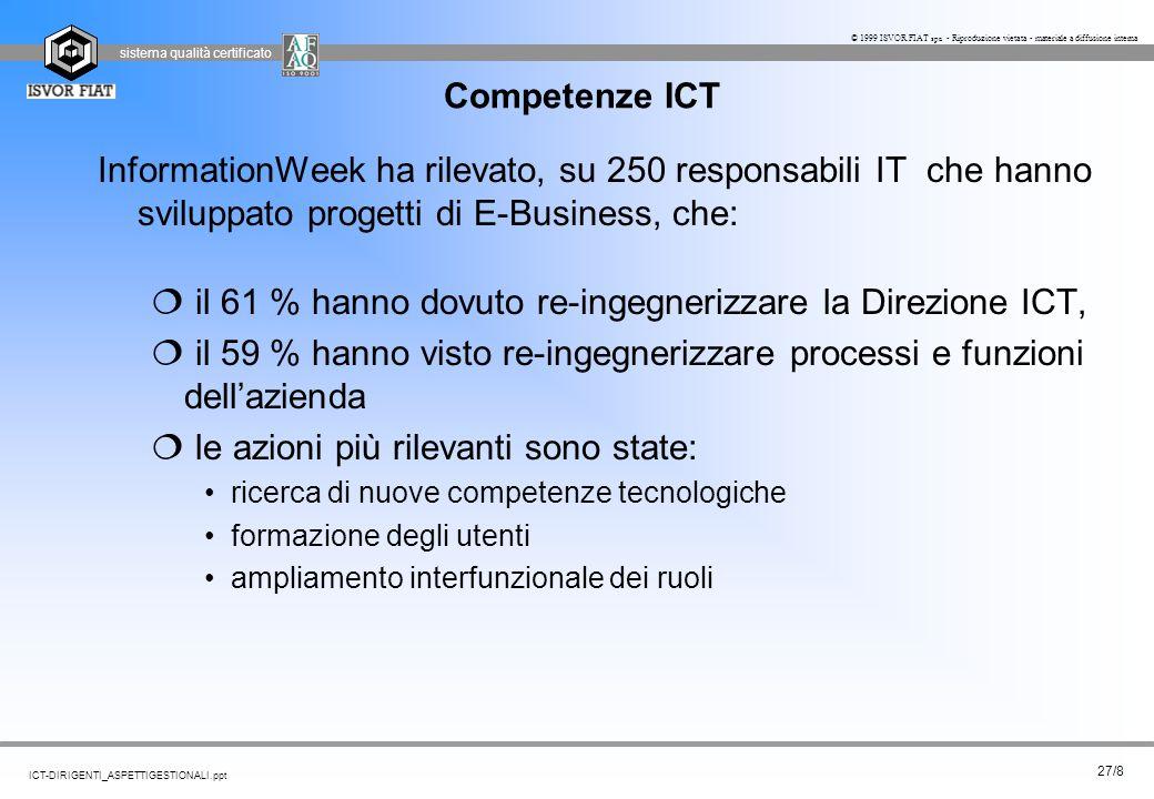 il 61 % hanno dovuto re-ingegnerizzare la Direzione ICT,