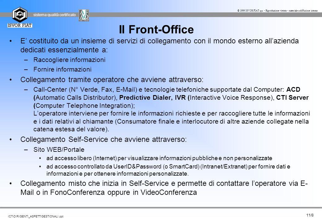 Il Front-Office E' costituito da un insieme di servizi di collegamento con il mondo esterno all'azienda dedicati essenzialmente a: