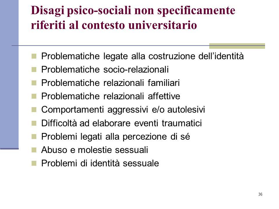 Disagi psico-sociali non specificamente riferiti al contesto universitario