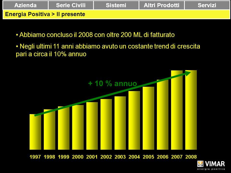 + 10 % annuo Abbiamo concluso il 2008 con oltre 200 ML di fatturato