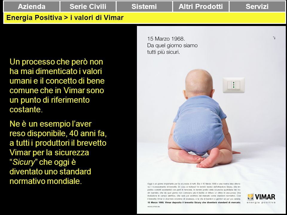 Azienda Serie Civili. Sistemi. Altri Prodotti. Servizi. Energia Positiva > i valori di Vimar.