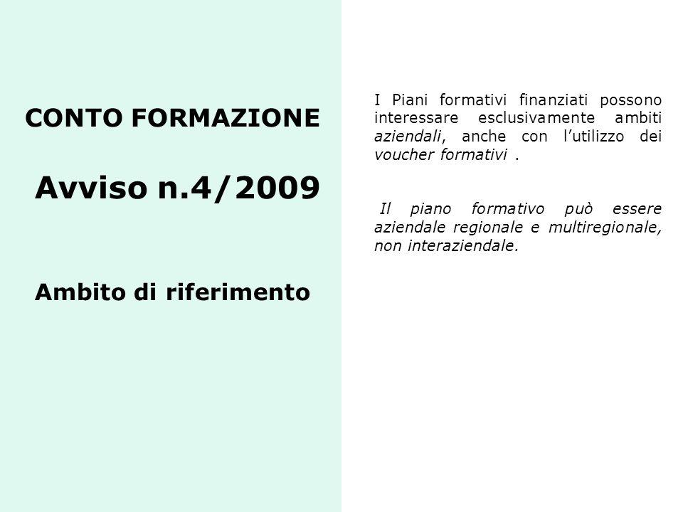 CONTO FORMAZIONE Avviso n.4/2009 Ambito di riferimento