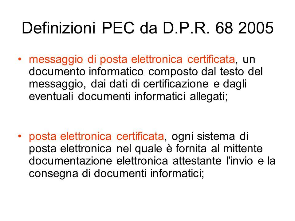 Definizioni PEC da D.P.R. 68 2005
