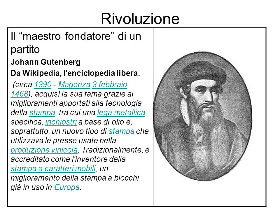 Rivoluzione Il maestro fondatore di un partito Johann Gutenberg