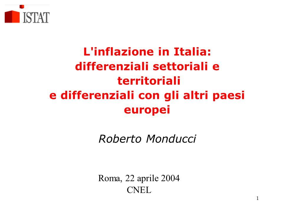 L inflazione in Italia: differenziali settoriali e territoriali