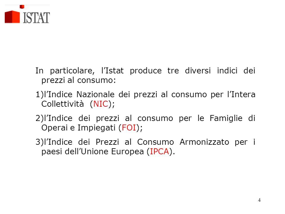 In particolare, l'Istat produce tre diversi indici dei prezzi al consumo: