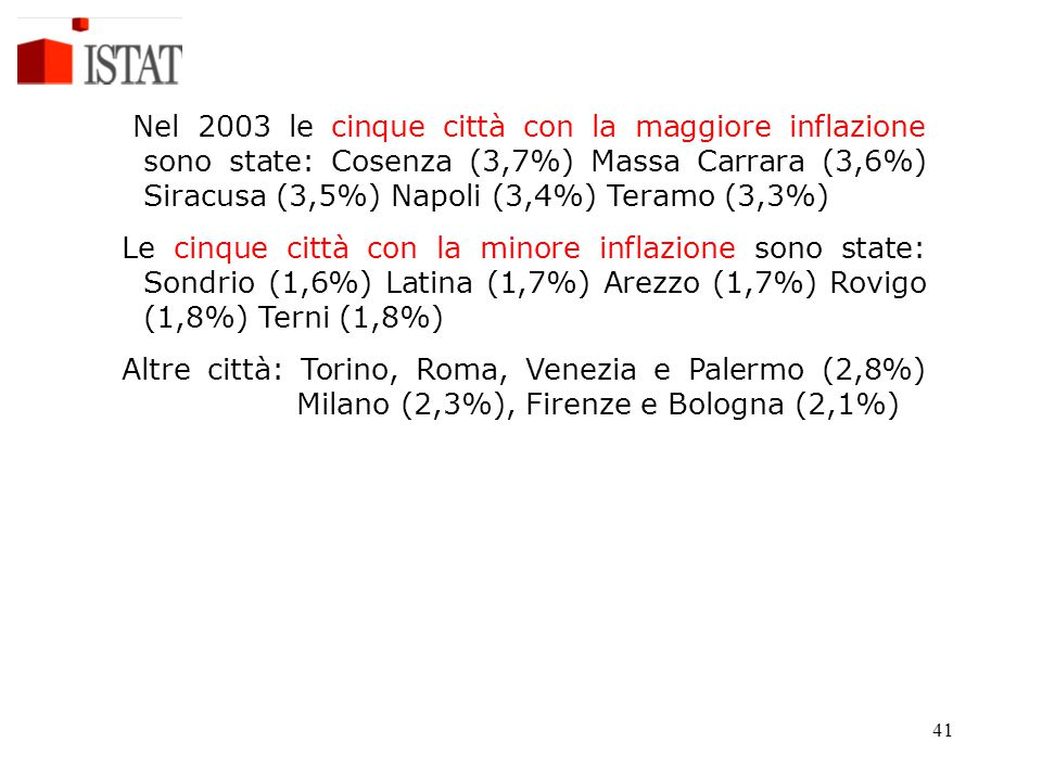 Nel 2003 le cinque città con la maggiore inflazione sono state: Cosenza (3,7%) Massa Carrara (3,6%) Siracusa (3,5%) Napoli (3,4%) Teramo (3,3%)