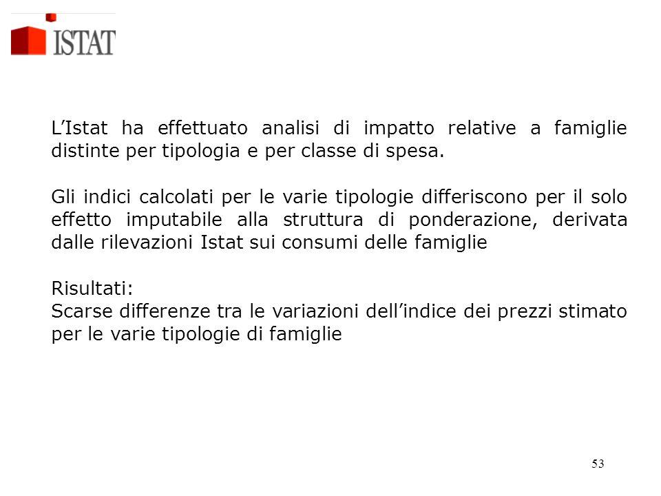 L'Istat ha effettuato analisi di impatto relative a famiglie distinte per tipologia e per classe di spesa.