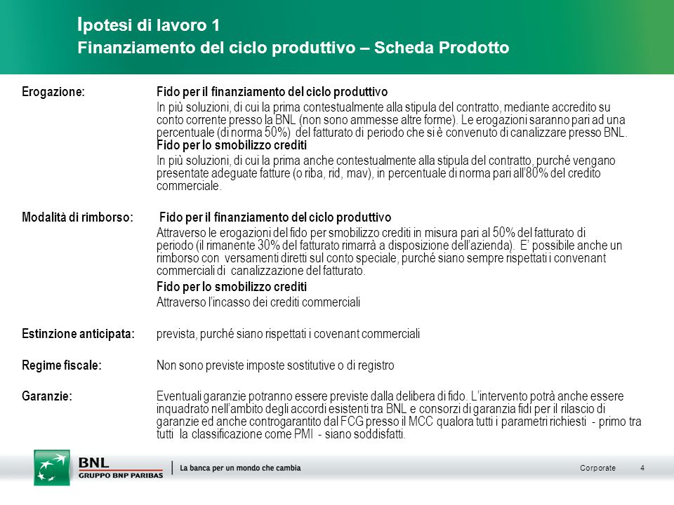 Ipotesi di lavoro 1 Finanziamento del ciclo produttivo – Scheda Prodotto