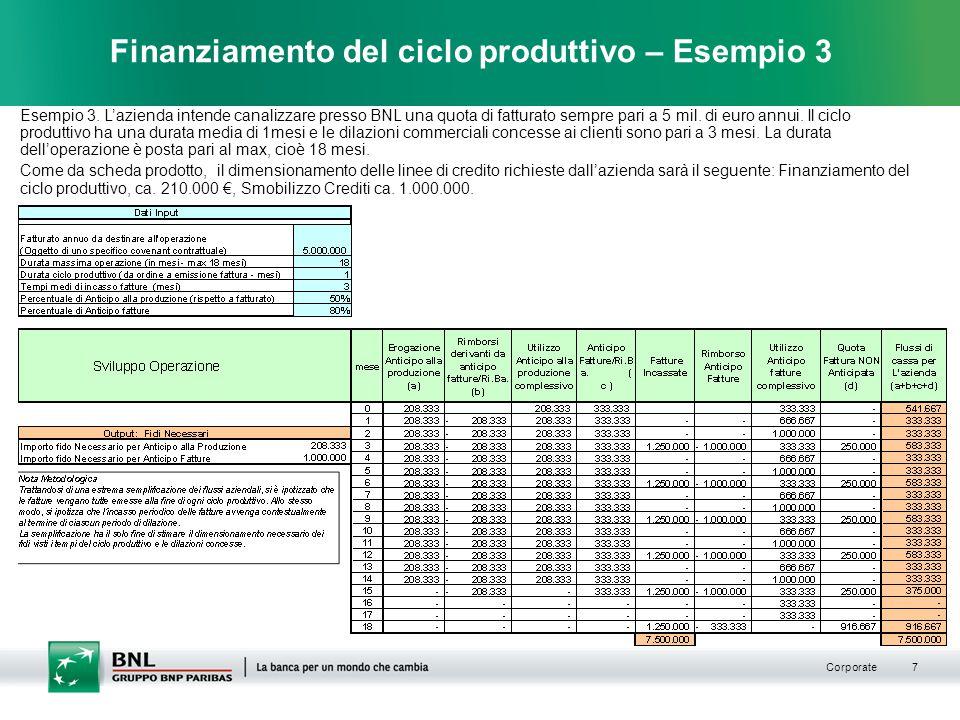 Finanziamento del ciclo produttivo – Esempio 3