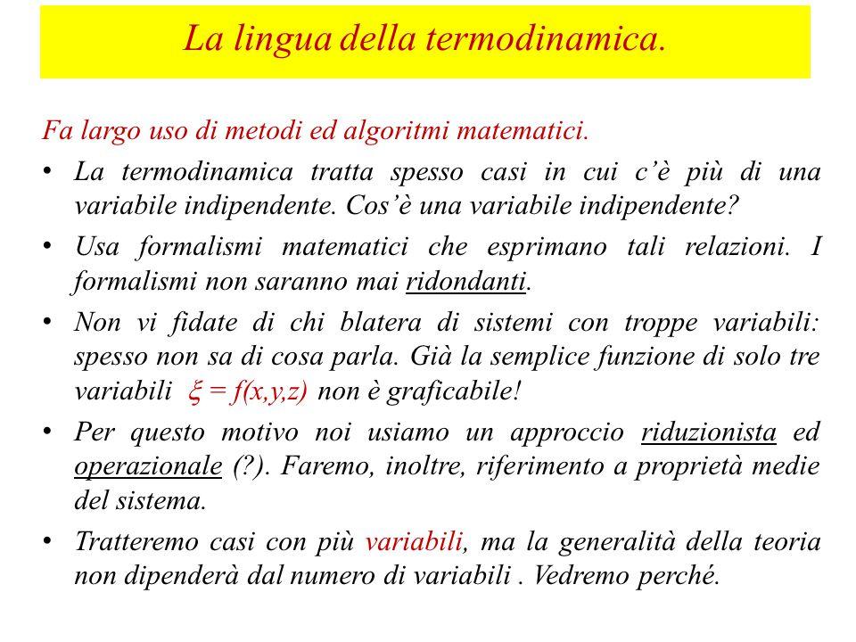 La lingua della termodinamica.