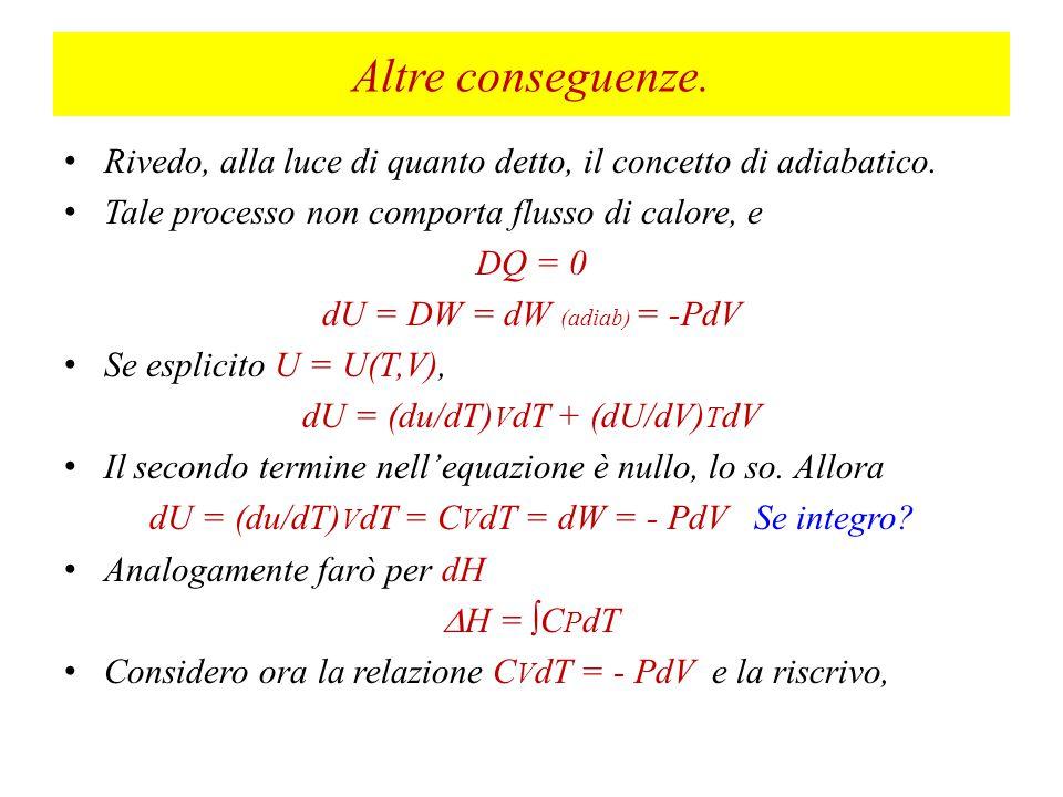Altre conseguenze. Rivedo, alla luce di quanto detto, il concetto di adiabatico. Tale processo non comporta flusso di calore, e.