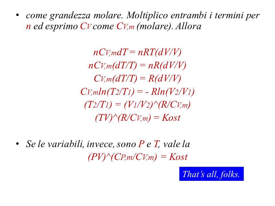 CV,mln(T2/T1) = - Rln(V2/V1)
