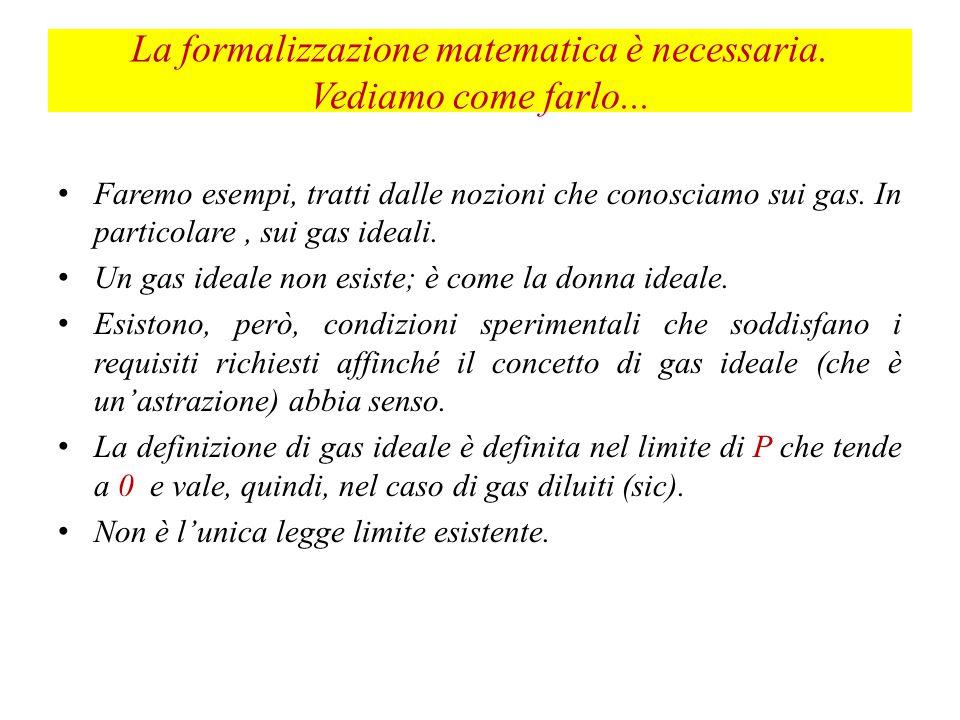 La formalizzazione matematica è necessaria. Vediamo come farlo...