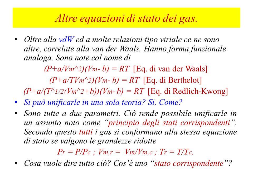 Altre equazioni di stato dei gas.