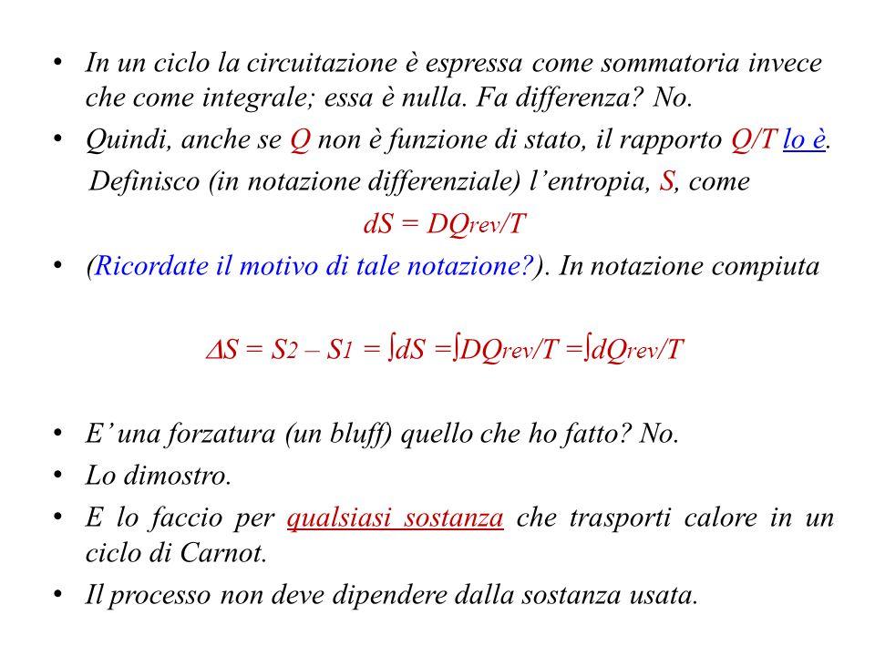 DS = S2 – S1 = ∫dS =∫DQrev/T =∫dQrev/T