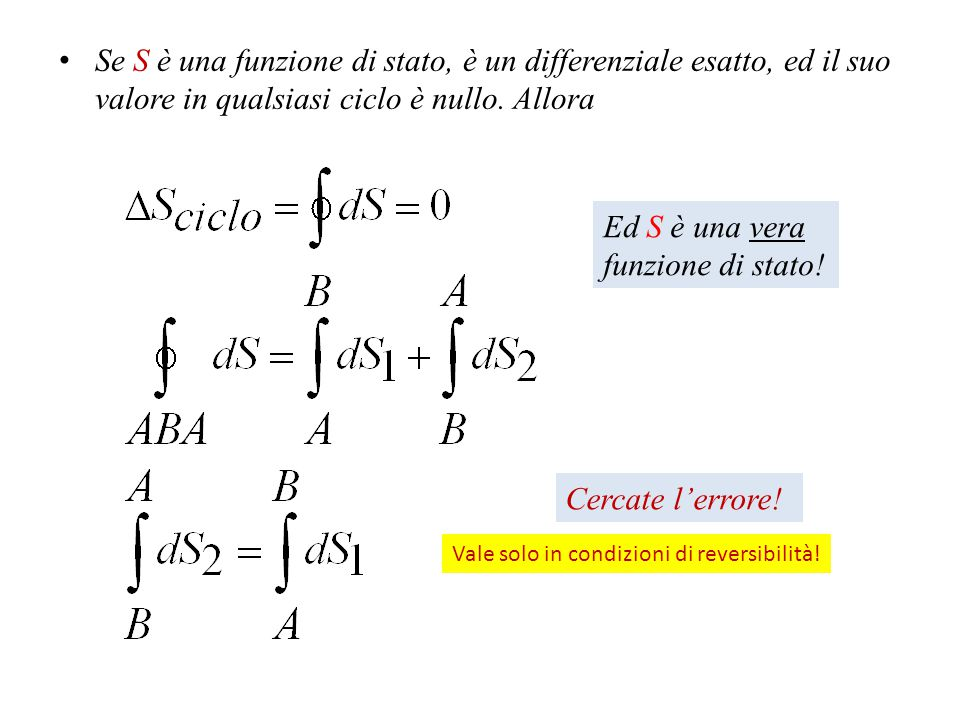 Se S è una funzione di stato, è un differenziale esatto, ed il suo valore in qualsiasi ciclo è nullo. Allora