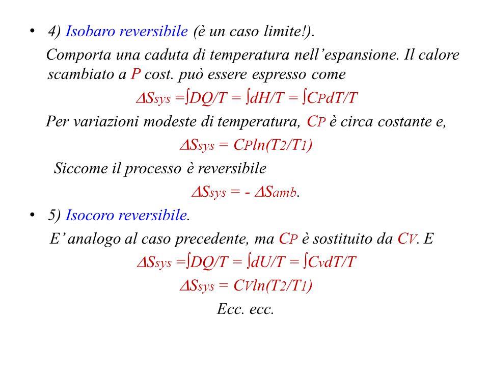 4) Isobaro reversibile (è un caso limite!).