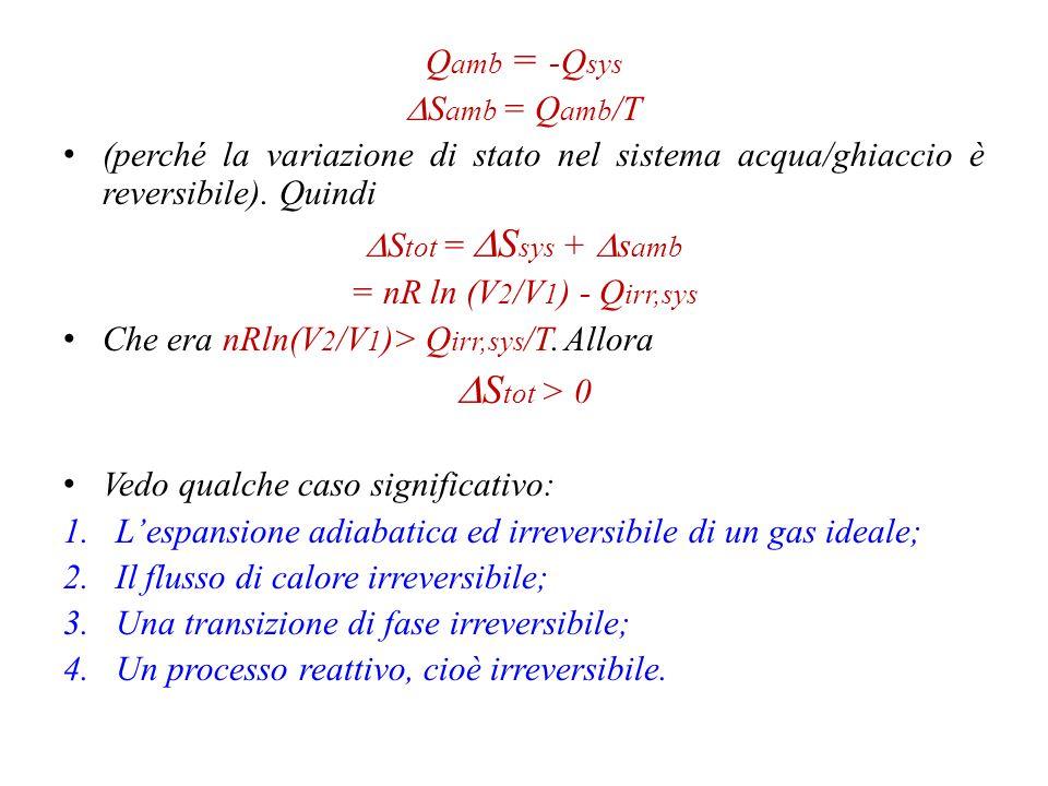 DStot > 0 Qamb = -Qsys DSamb = Qamb/T