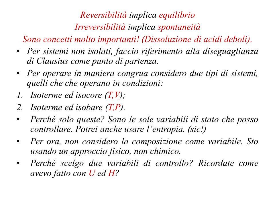 Reversibilità implica equilibrio Irreversibilità implica spontaneità