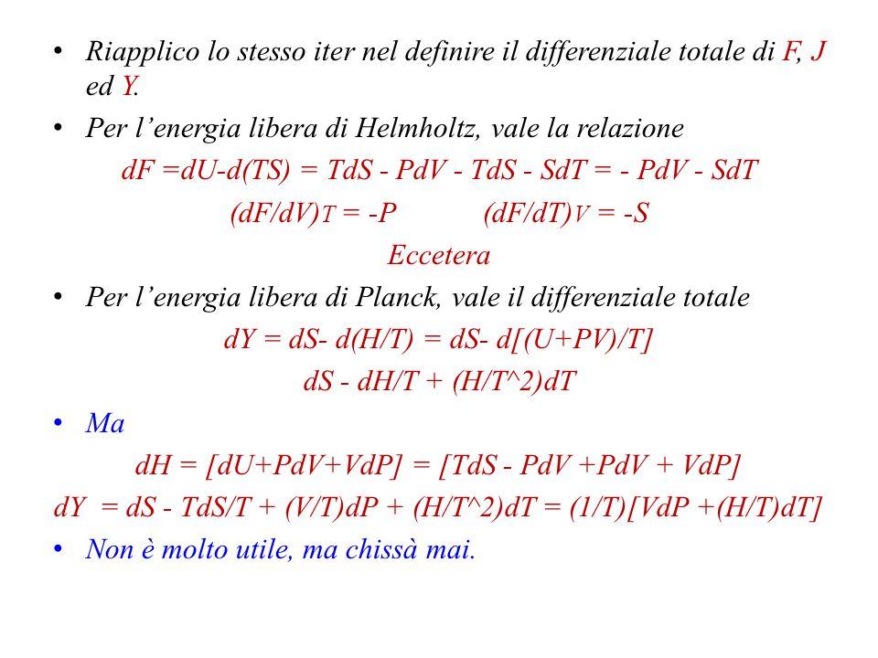Per l'energia libera di Helmholtz, vale la relazione