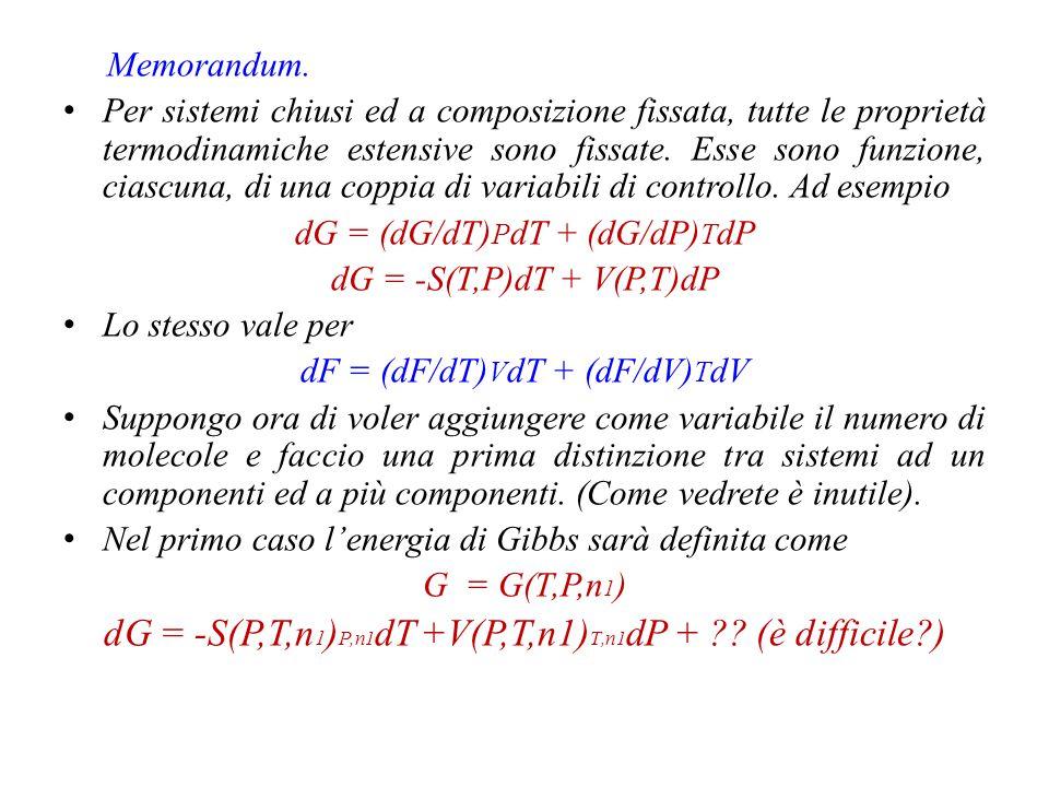dG = -S(P,T,n1)P,n1dT +V(P,T,n1)T,n1dP + (è difficile )