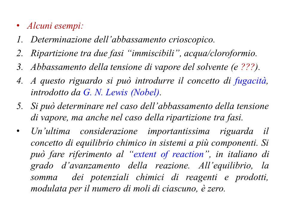 Alcuni esempi: Determinazione dell'abbassamento crioscopico. Ripartizione tra due fasi immiscibili , acqua/cloroformio.