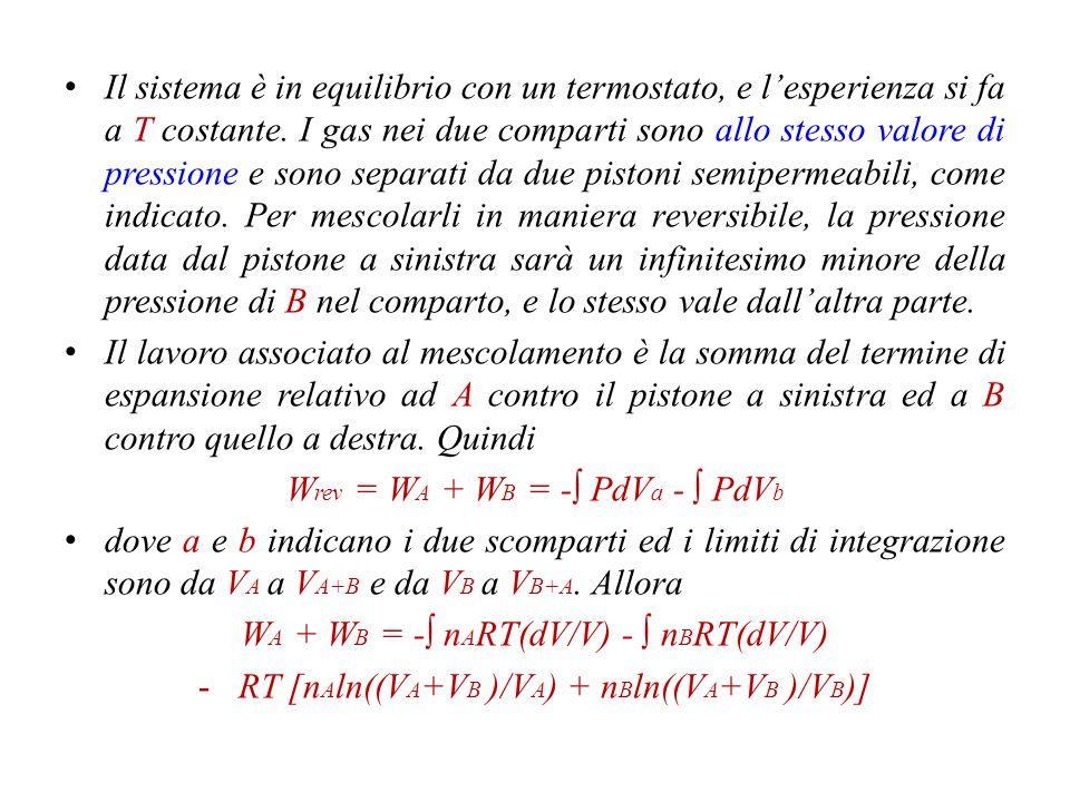 Wrev = WA + WB = -∫ PdVa - ∫ PdVb