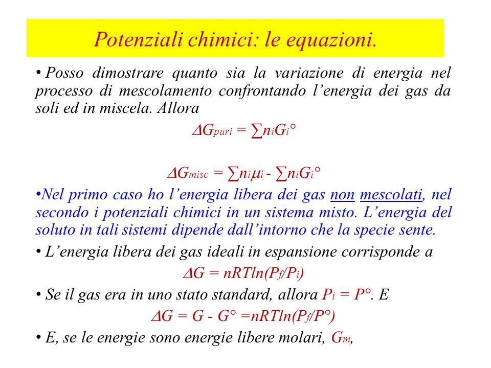 Potenziali chimici: le equazioni.
