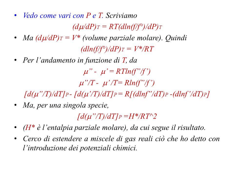 Vedo come vari con P e T. Scriviamo (dm/dP)T = RT(dln(f/f°)/dP)T