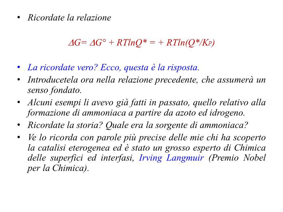 DG= DG° + RTlnQ* = + RTln(Q*/KP)